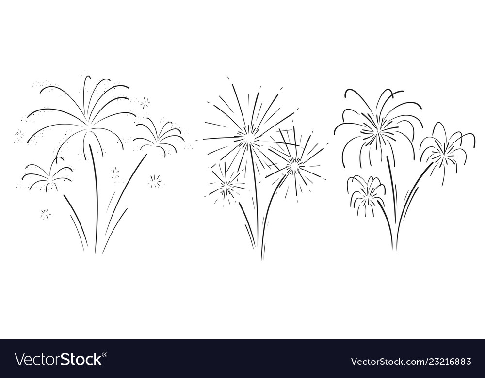 Hand drawn set of fireworks