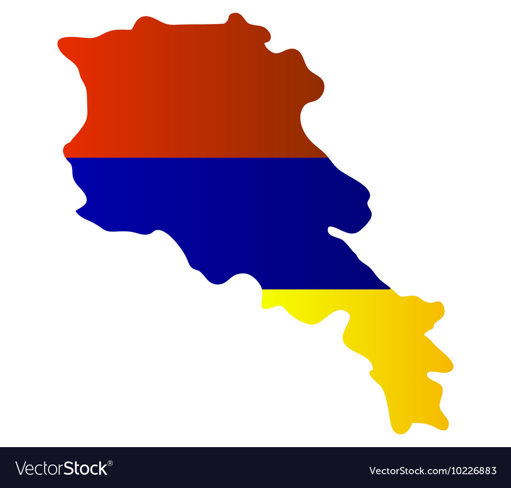 Map with flag of Armenia