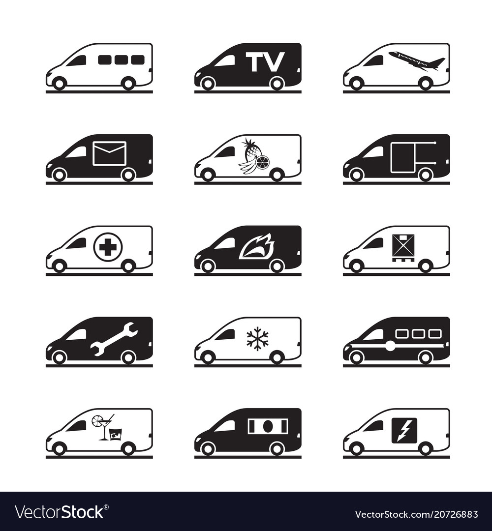 Passenger and freight vans and pickups vector image