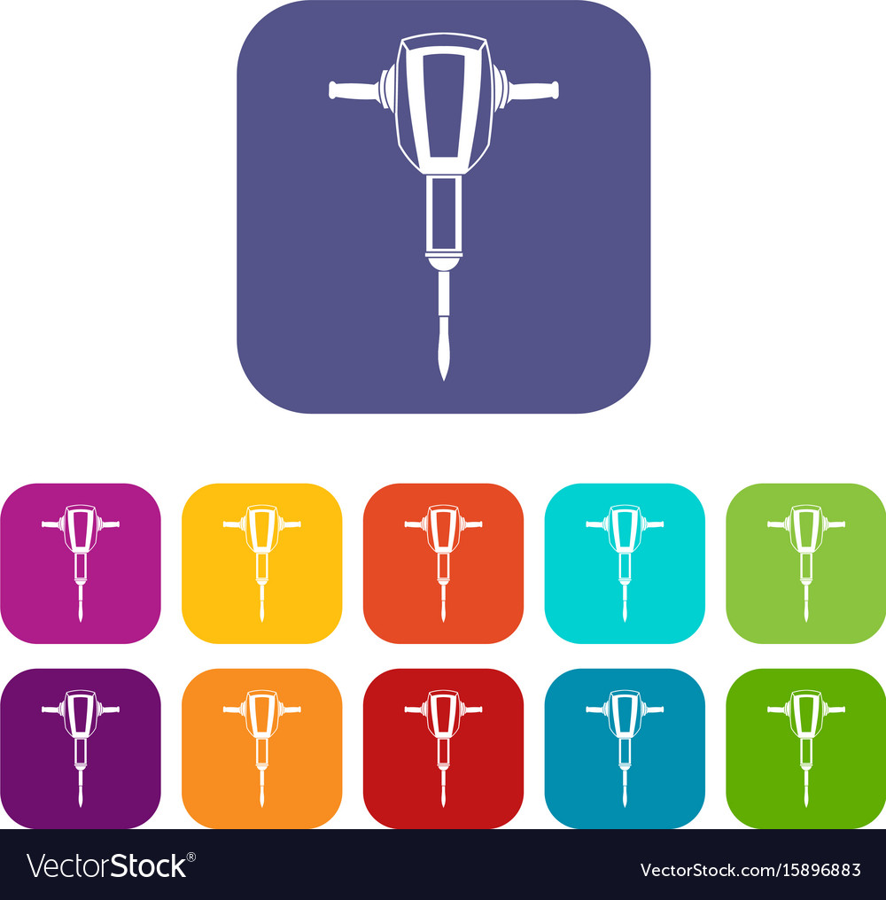 Pneumatic plugger hammer icons set