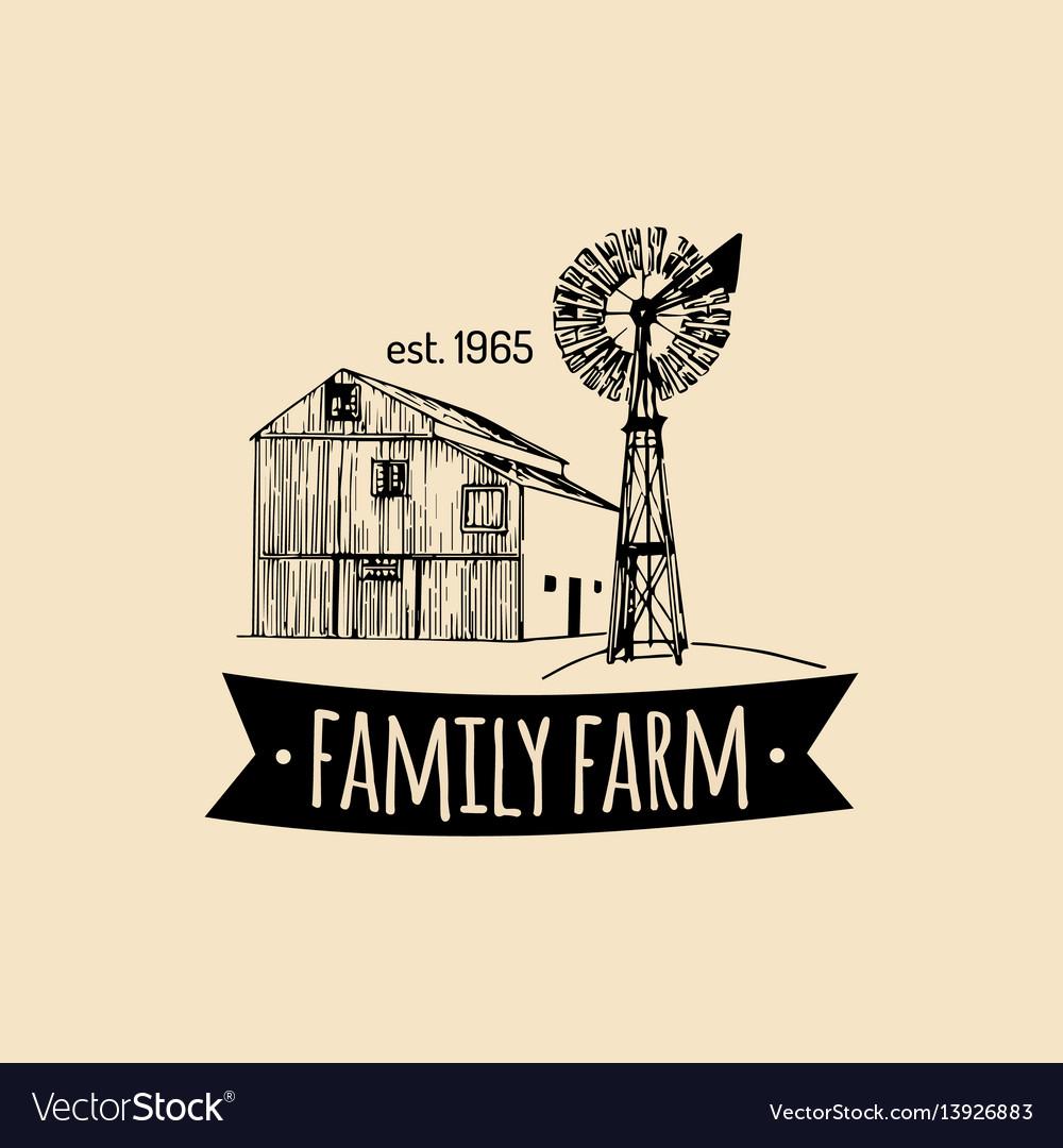 Retro family farm logotypeorganic premium