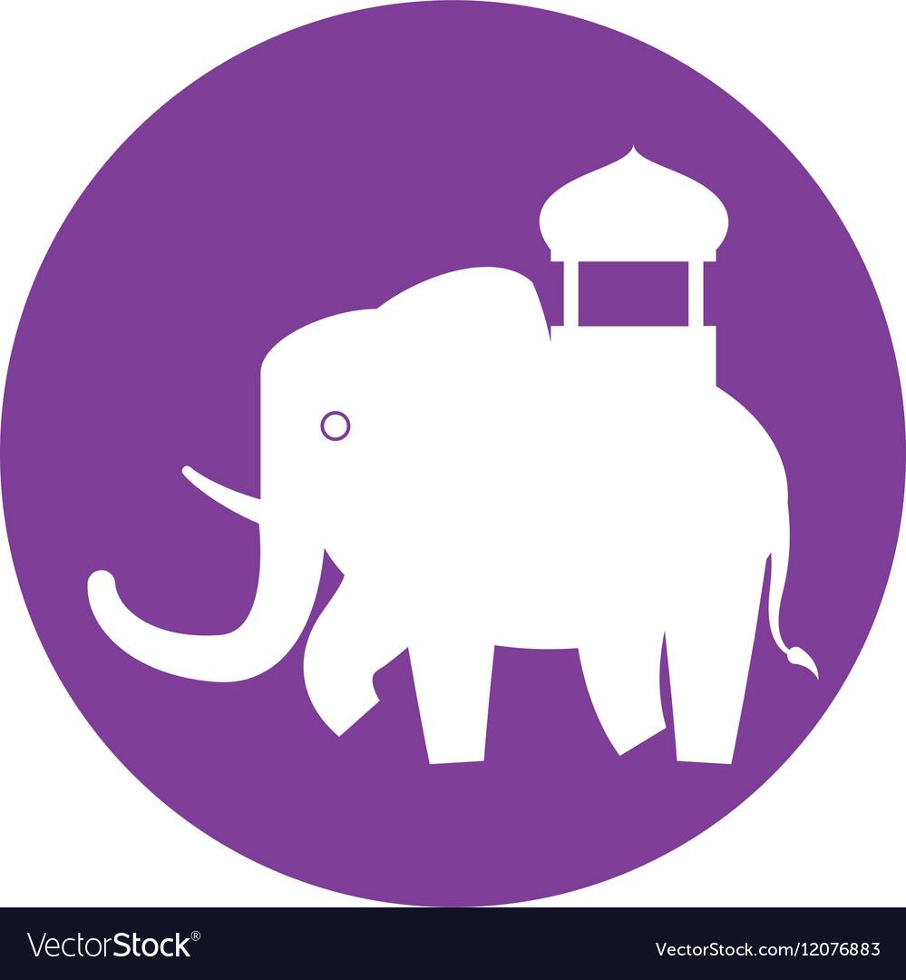 Silhouette indian elephant festival purple vector image