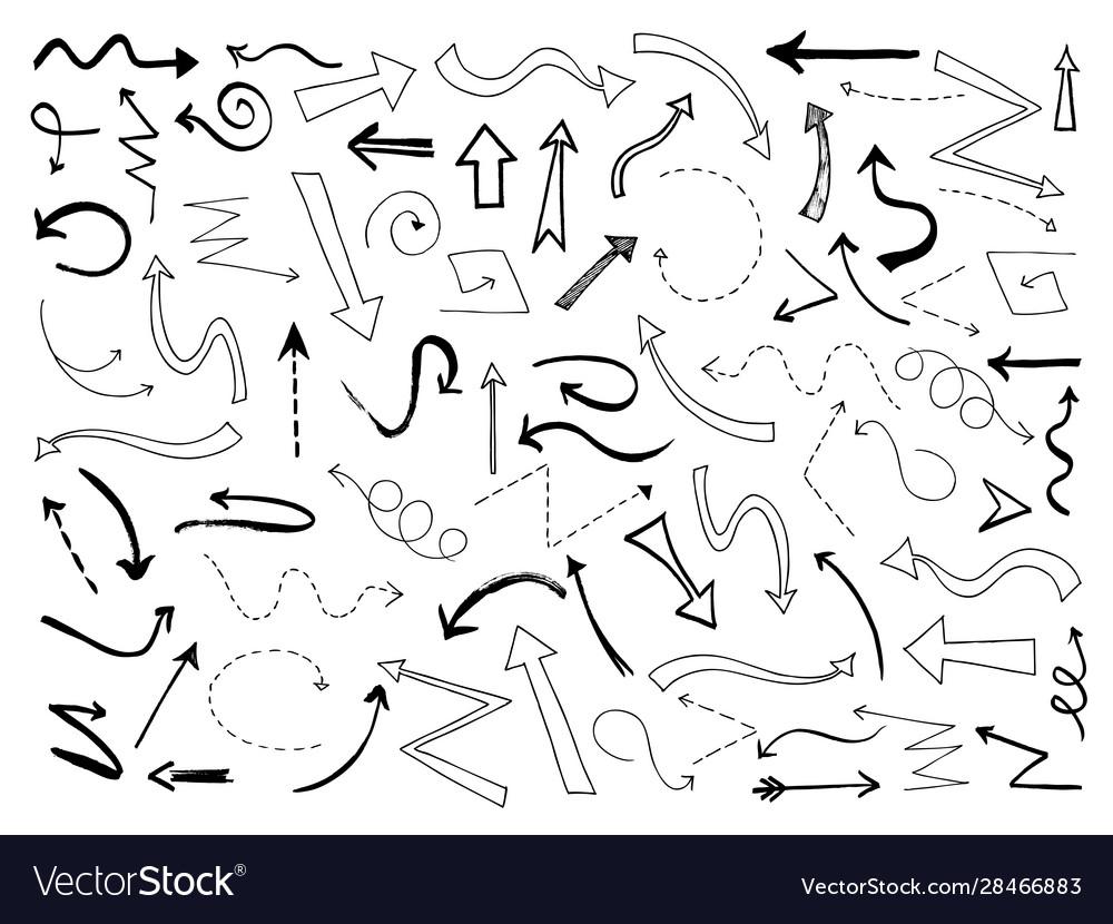 Sketch arrows doodle black arrow direction line