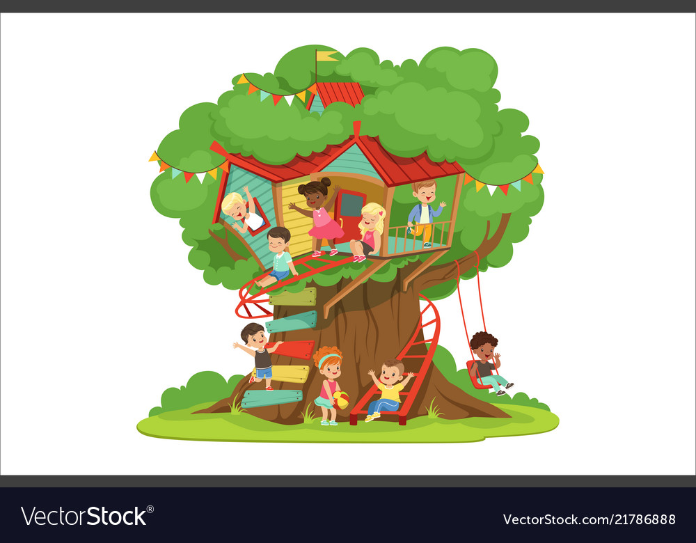 Children playing and having fun in the treehouse