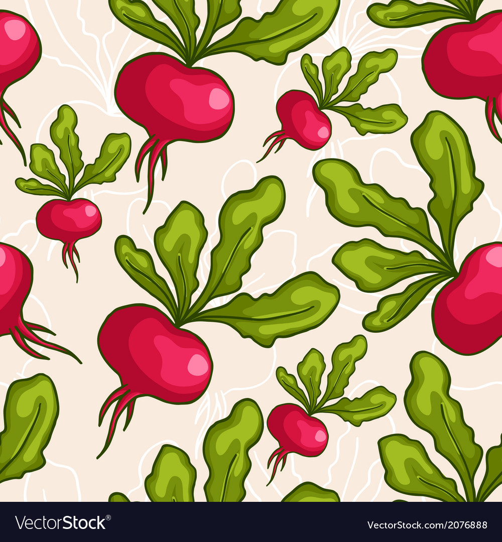 Cute seamless hand drawn radish background