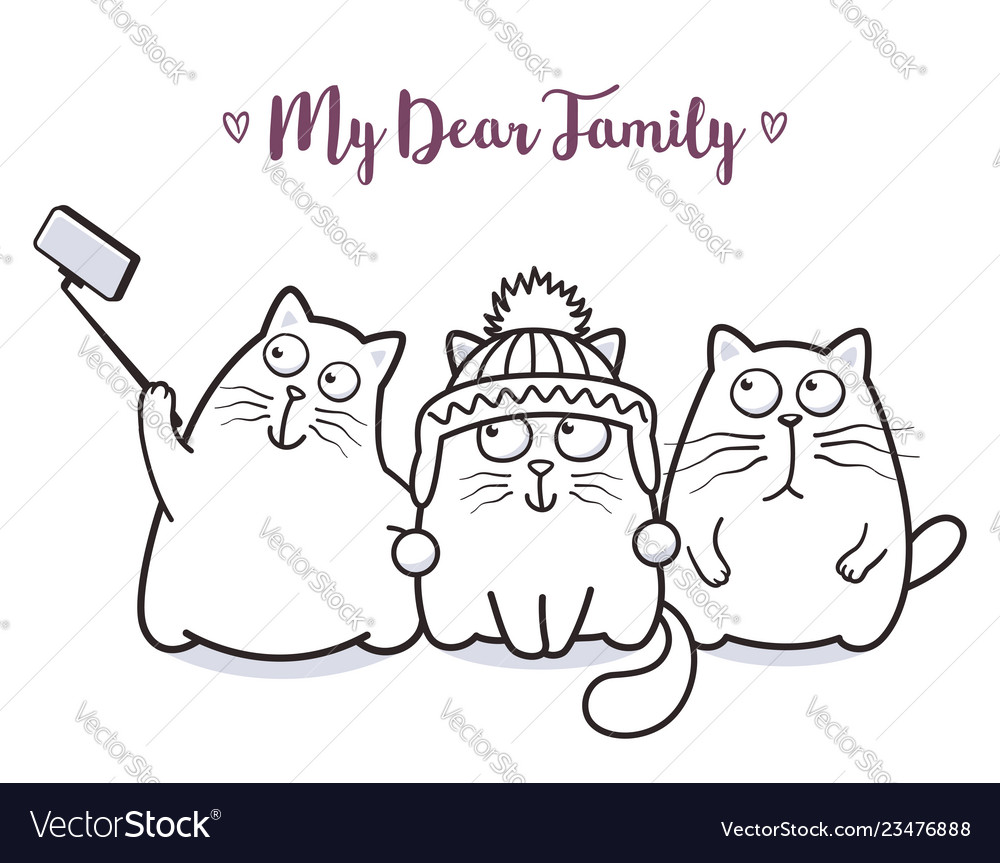 Funny cats family taking selfie for greeting card