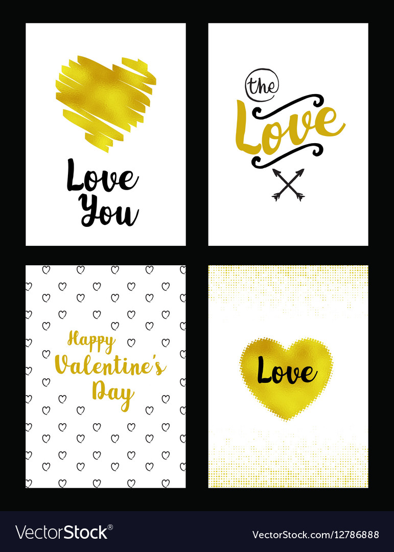 Gold set of valentines day card