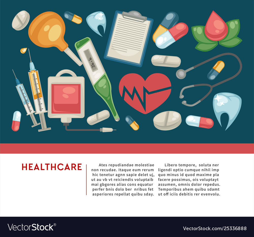 Healthcare Banner Pills And Medical Tools Medicine