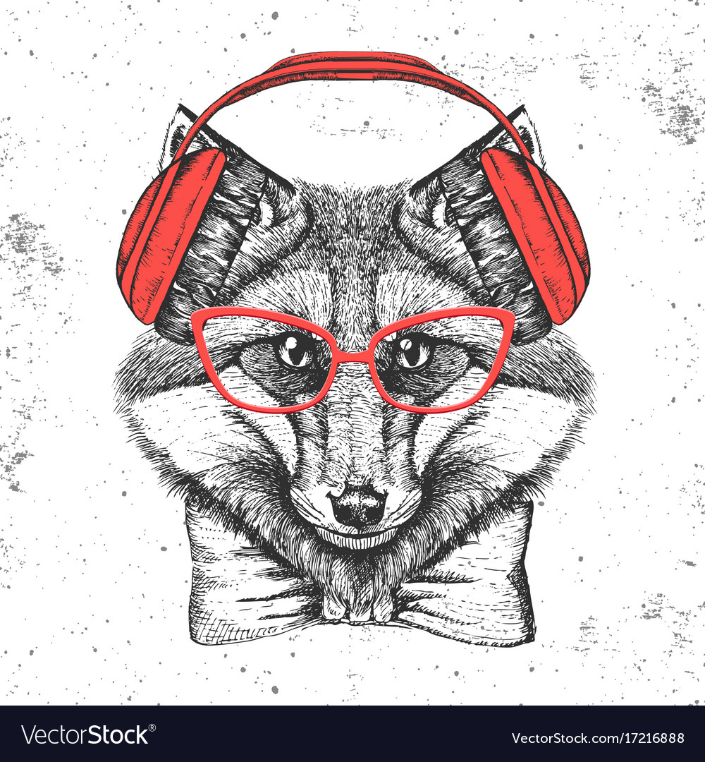 Hipster animal fox hand drawing muzzle of animal