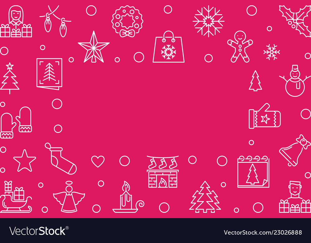 Merry christmas red outline horizontal