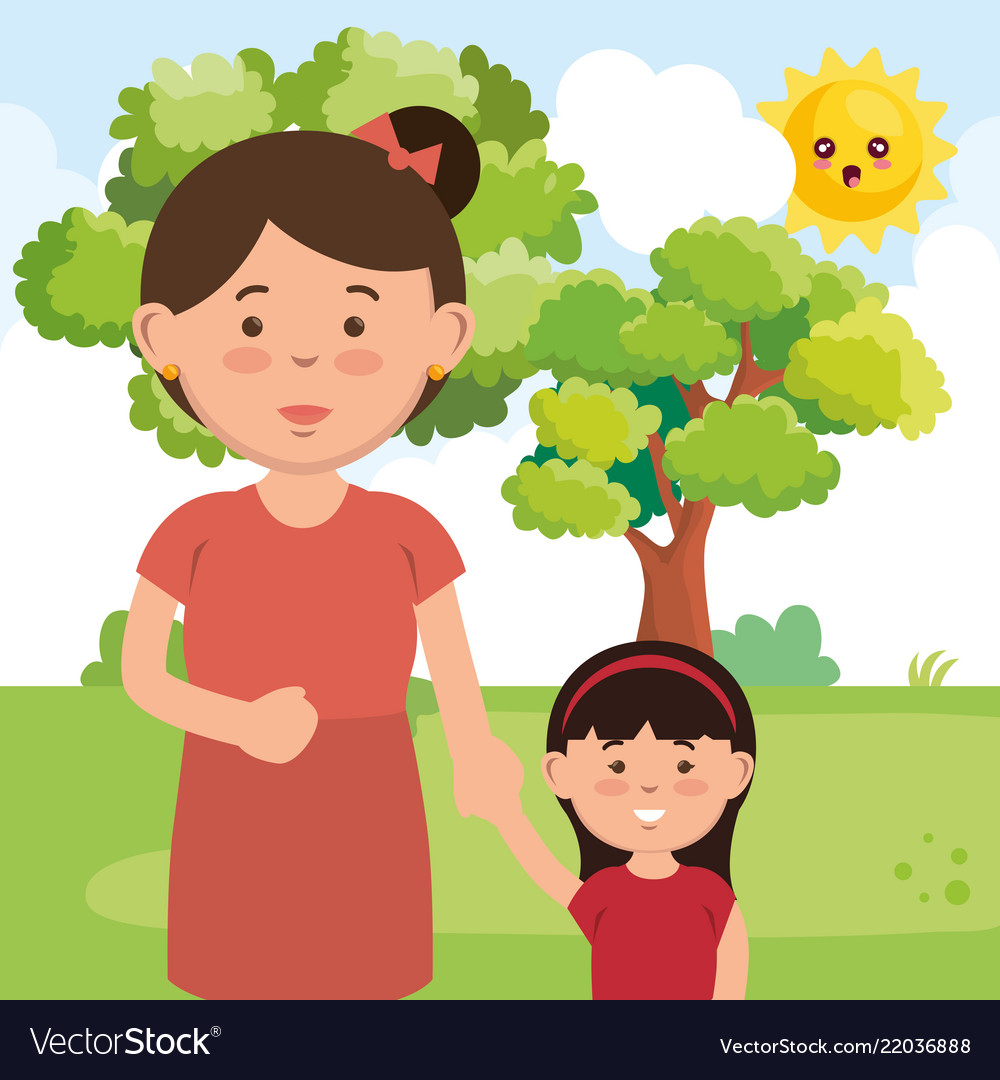Mother with daughter on park characters