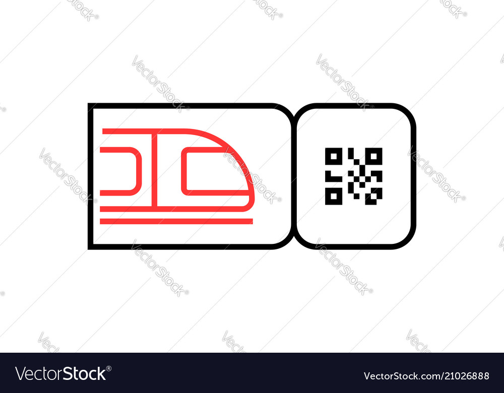 Outline train ticket icon with qr code