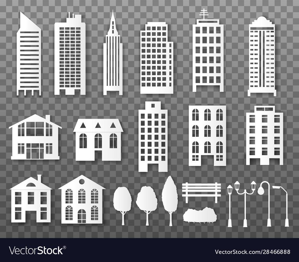 Paper buildings origami papercut city houses