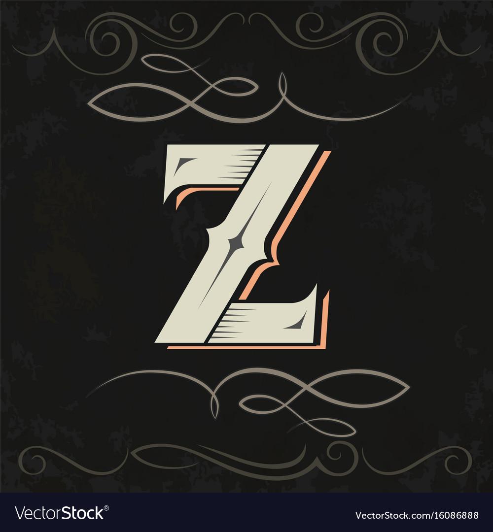 Retro Style Western Letter Design Z Vector Image