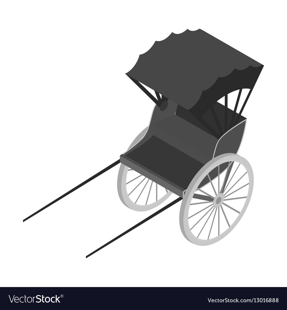 Rickshaw icon in monochrome style isolated on vector image