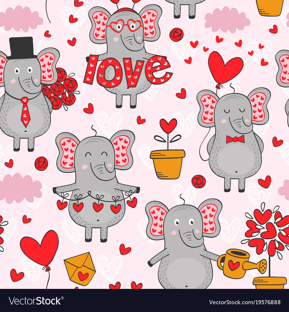 Seamless pattern with elephant in love in color