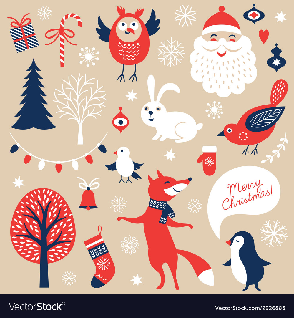Set of Christmas graphic elements