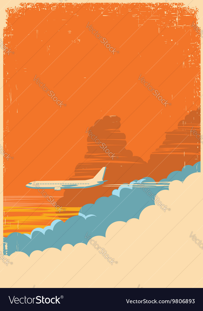 Aircraft flying in sky on old paper texture