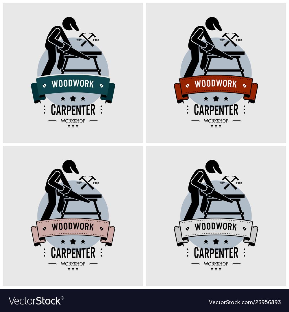Carpenter logo design artwork of carpentry