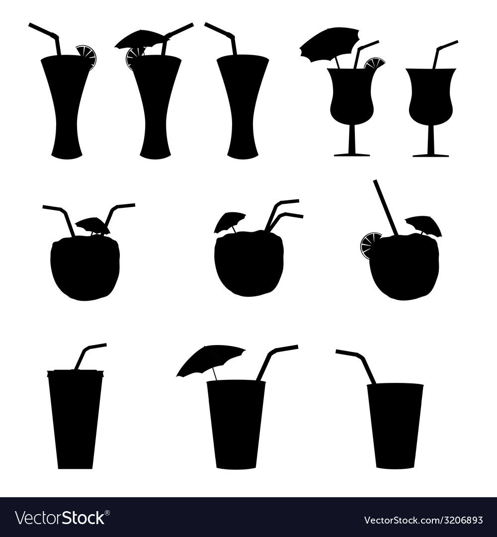 Glasses of alcohol with a straw vector image