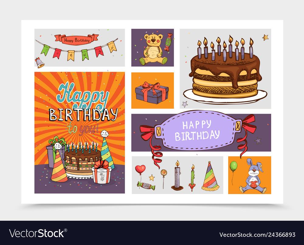 Hand drawn birthday party elements set
