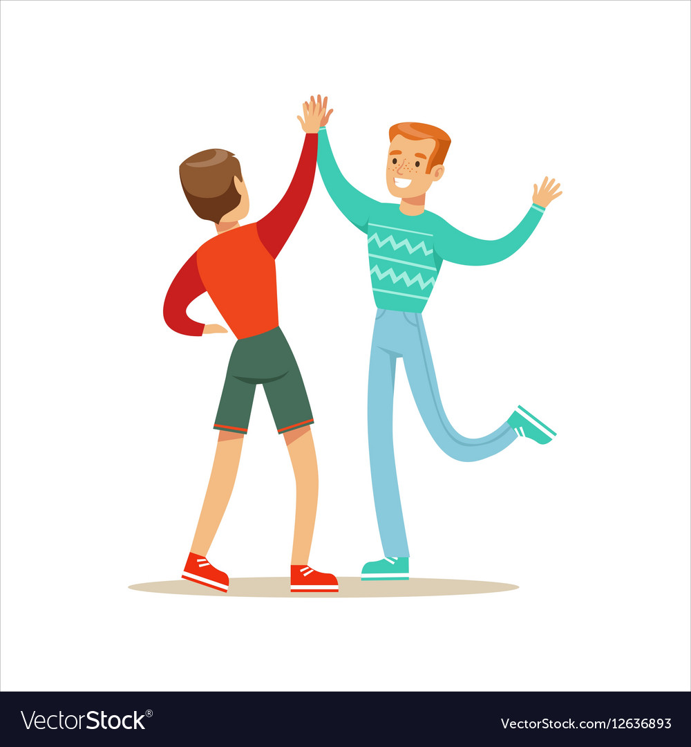 Happy Best Friends Giving Each Other High Five vector image