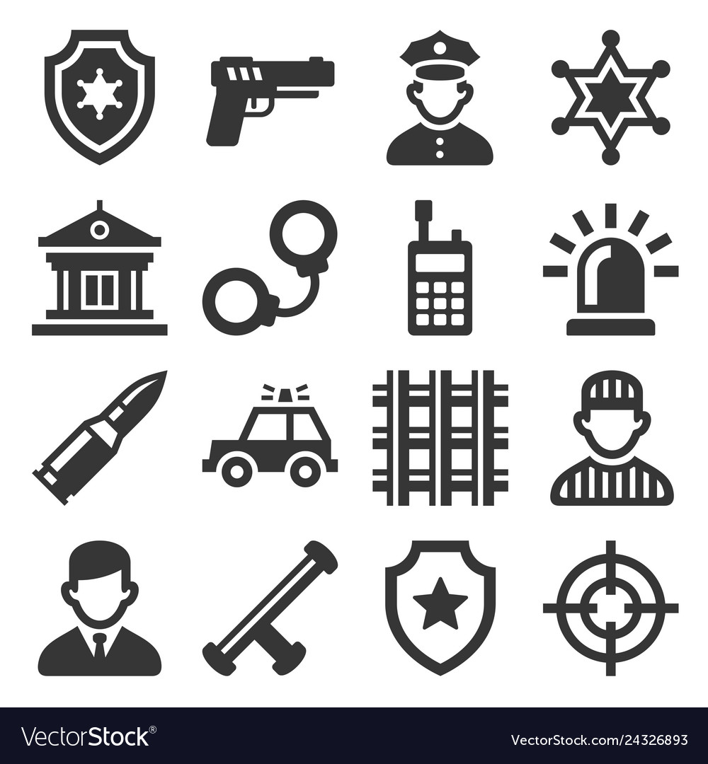 Police icons set on white background