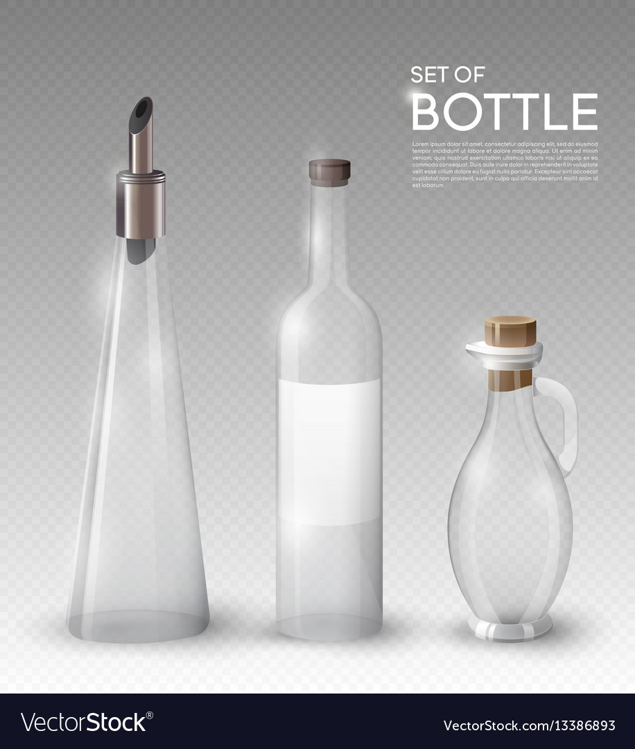 Realistic empty glass bottles collection