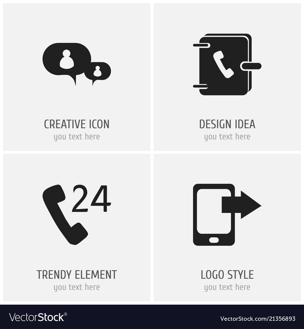 Set of 4 editable gadget icons includes symbols