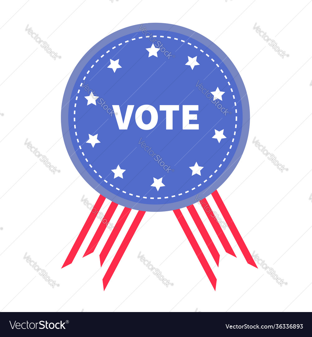 Vote blue badge with striped ribbons award icon