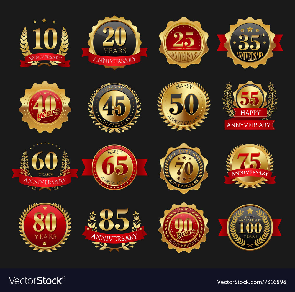 Anniversary golden signs set