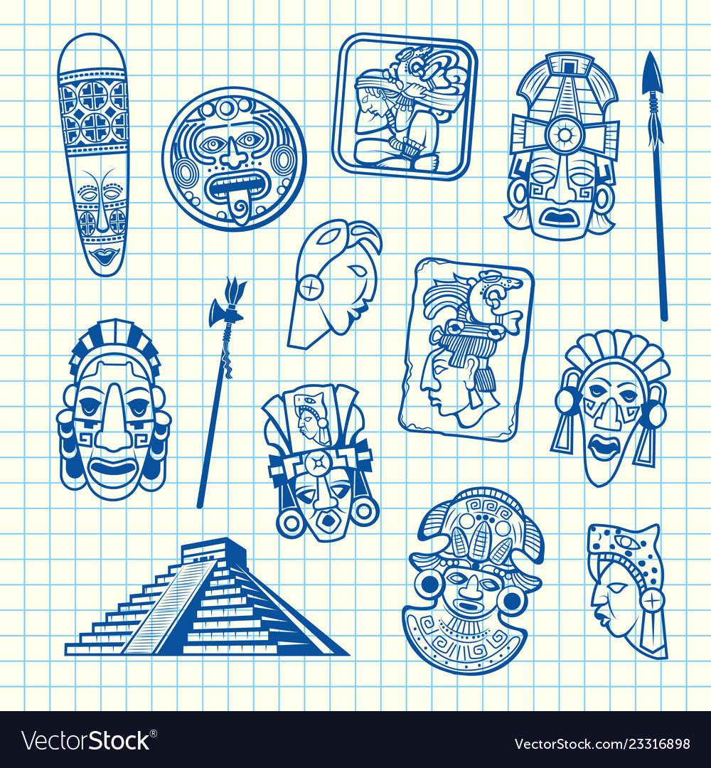 Cartoon summer travel elements tiki mask of