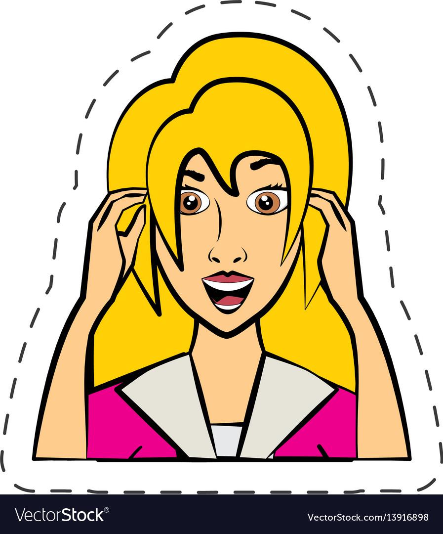 Cartoon woman expression image