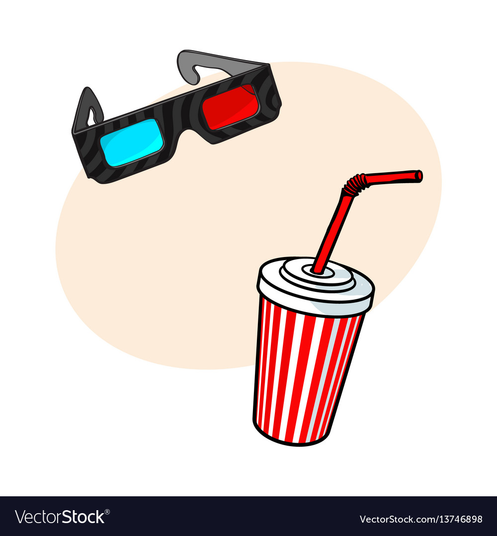 Cinema objects - 3d glasses and soda water in