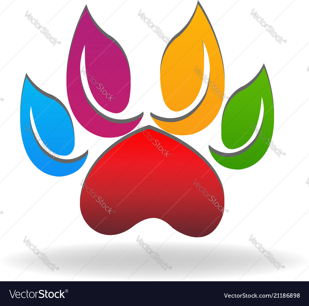 Colorful paw leafs abstract icon