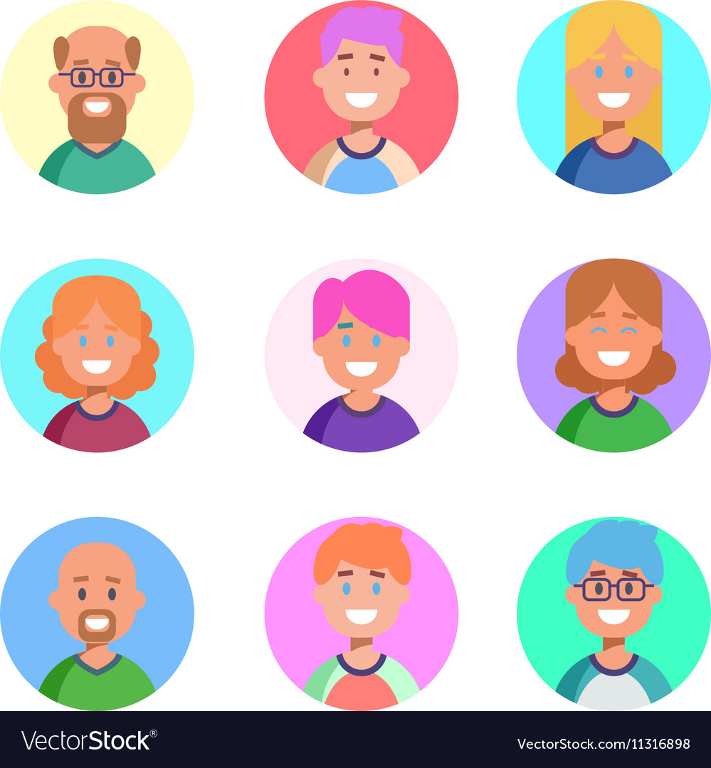 Flat design colorful icons collection of people