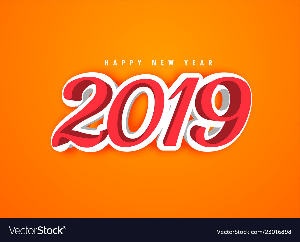 Happy New Year 2019 In 3d Style Royalty Free Vector Image