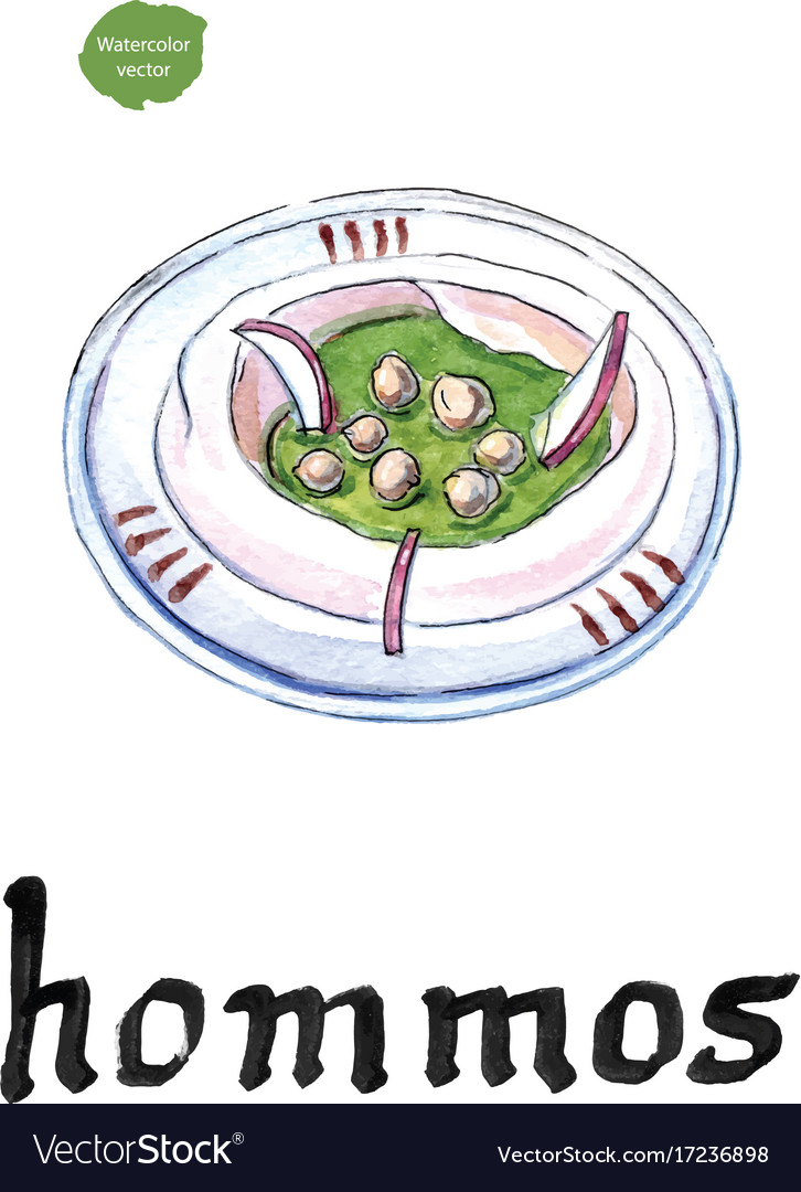 Hommos chickpea dip with spices watercolor
