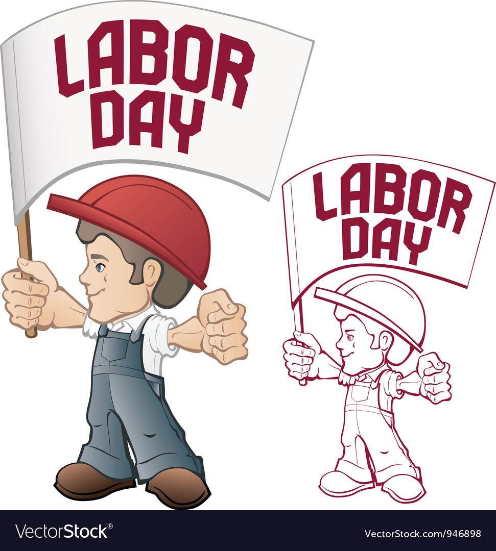 Labor Day Cartoon Worker vector image