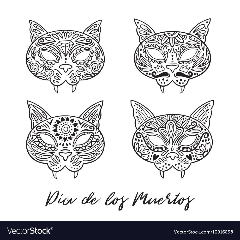 Set of cat sugar Mexican skulls