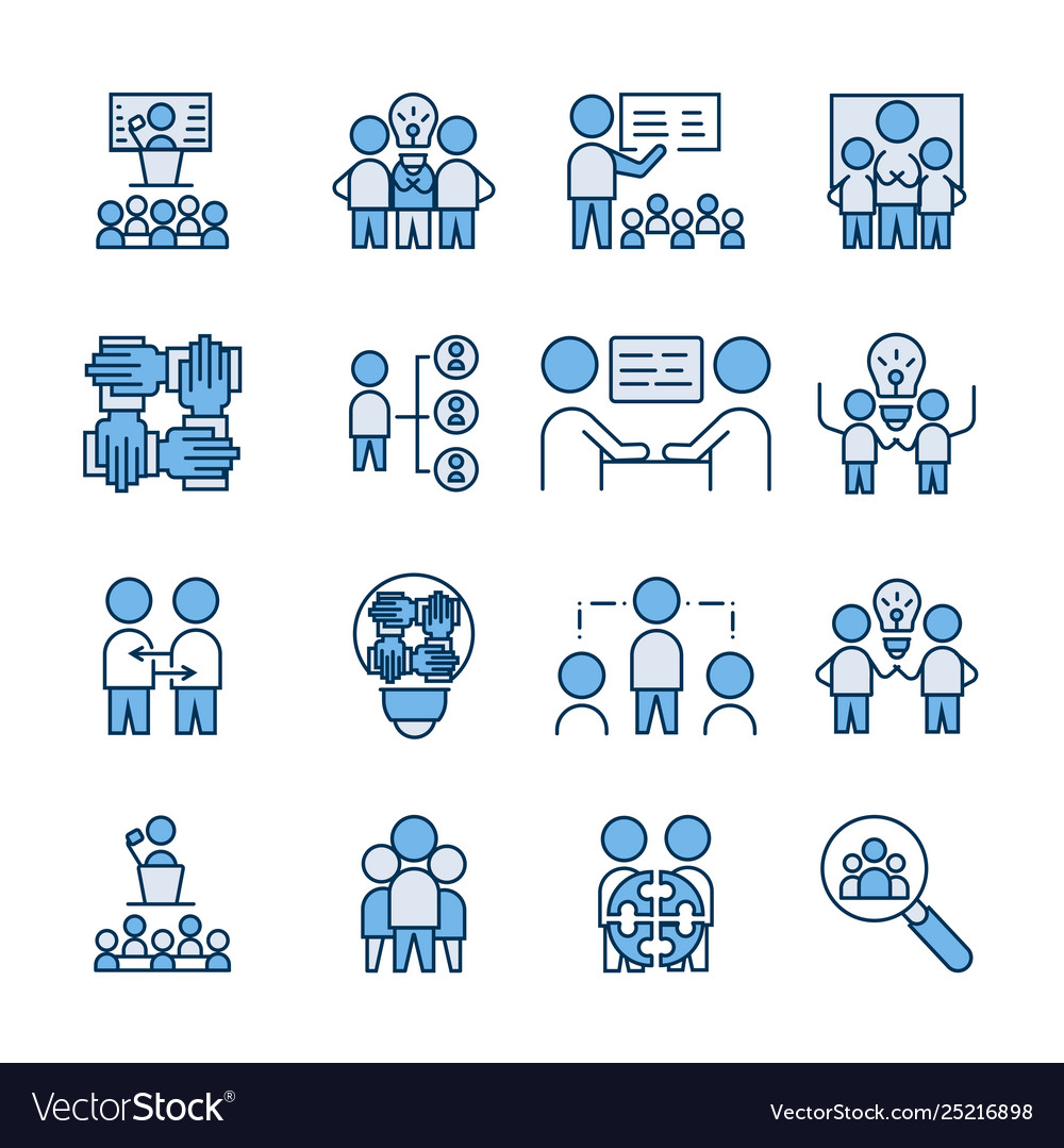 Simple set team work icon linear fill sign