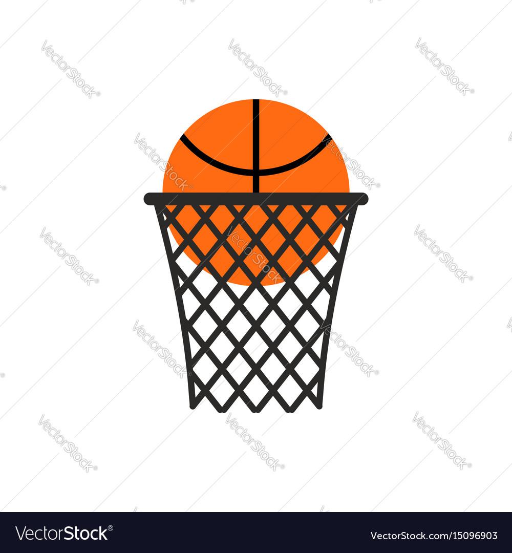 Basketball ball in ring emblem sports logo