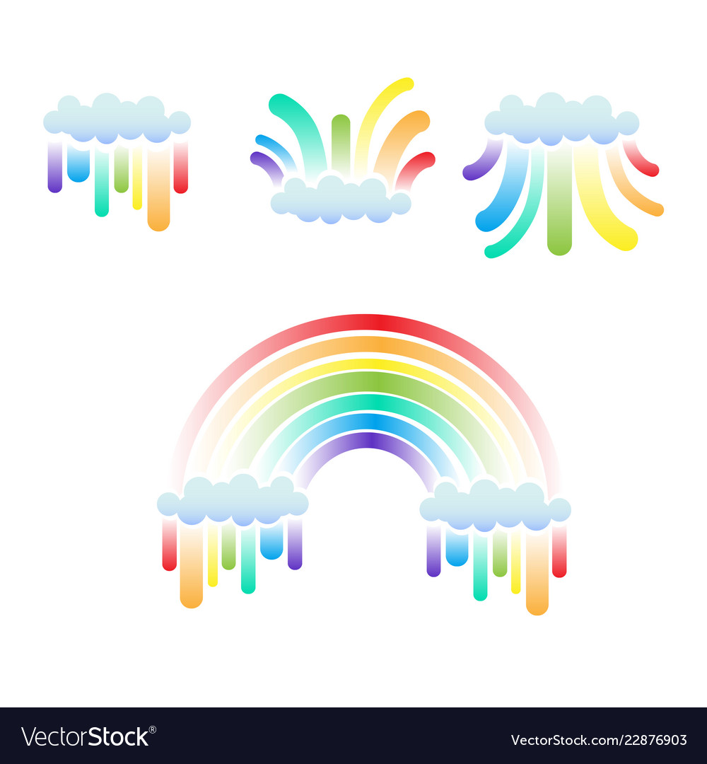 Clouds and rainbow set