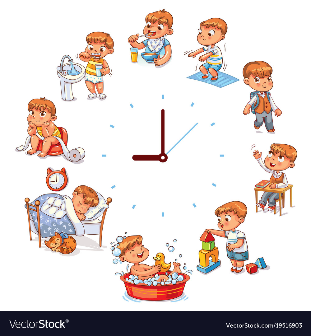 Daily routine Royalty Free Vector Image - VectorStock