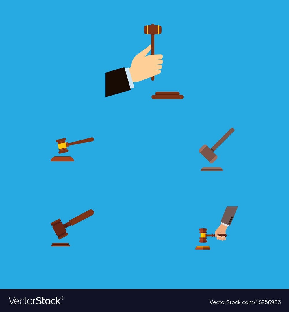 Flat icon court set of tribunal hammer law and