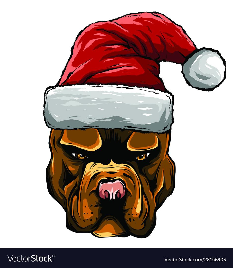 Hand drawn dog american bulldog in a red santa