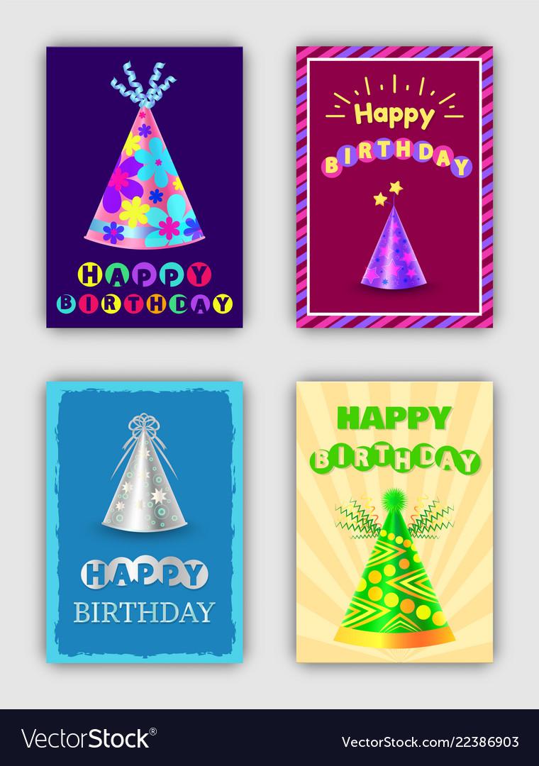 Happy birthday cards set of