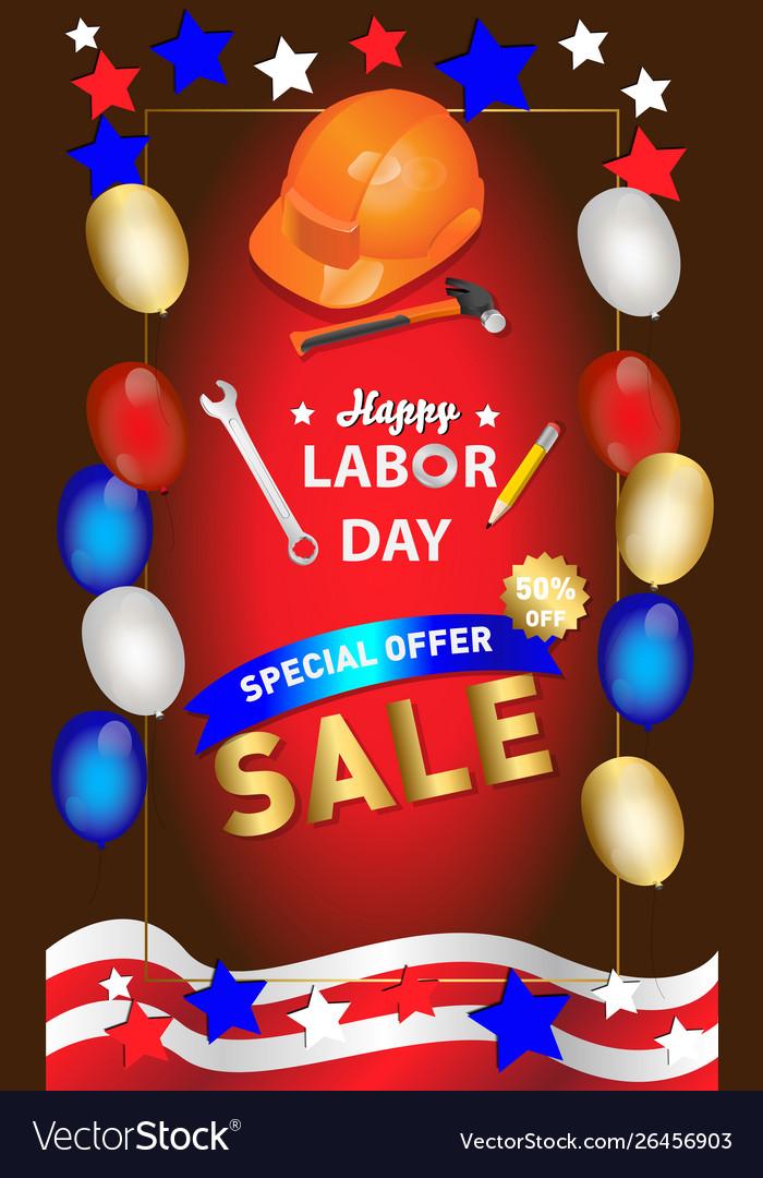 Happy labor day banner design template il