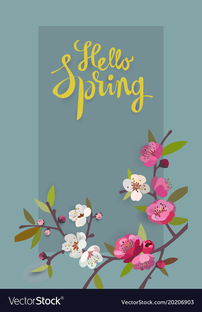 Hello spring card for spring season with flowers