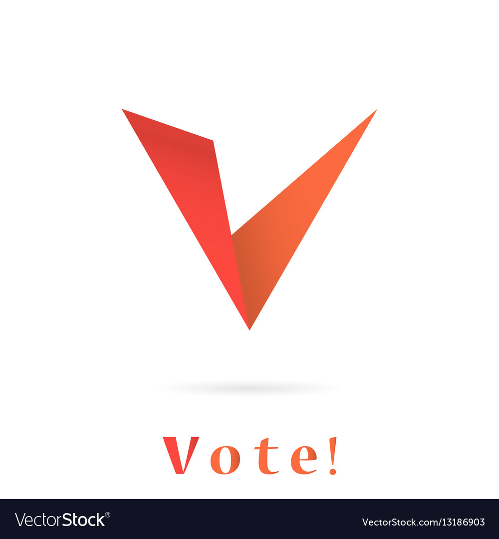V letter icon elections concep